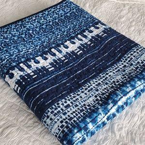 Boho Batik Style Blue Quilt & Shams Set